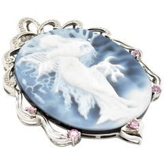 14 Karat White Gold and Blue Cameo Brooch