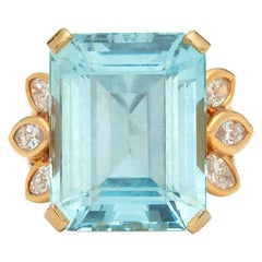 Aquamarine and Marquise-Cut Diamond Ring