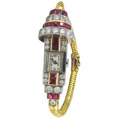 Ladies Platinum Yellow Gold Diamond Burma Ruby Retro Wristwatch