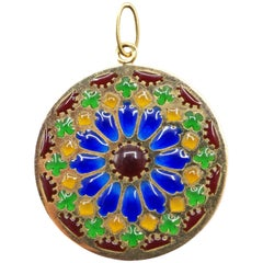 French 1950s Enamel 18 Karat Yellow Gold Notre Dame Windows Pendant