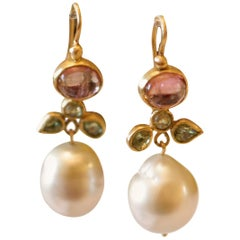 South Sea Pearls Tourmaline Demantoid Garnets 22k-21k Gold Dangle Drop Earrings