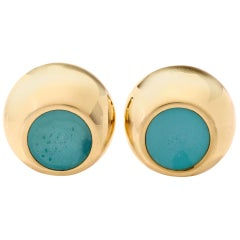 Tiffany & Co. Elsa Paretti Yellow Gold and Turquoise Enamel Clip-Back Earrings