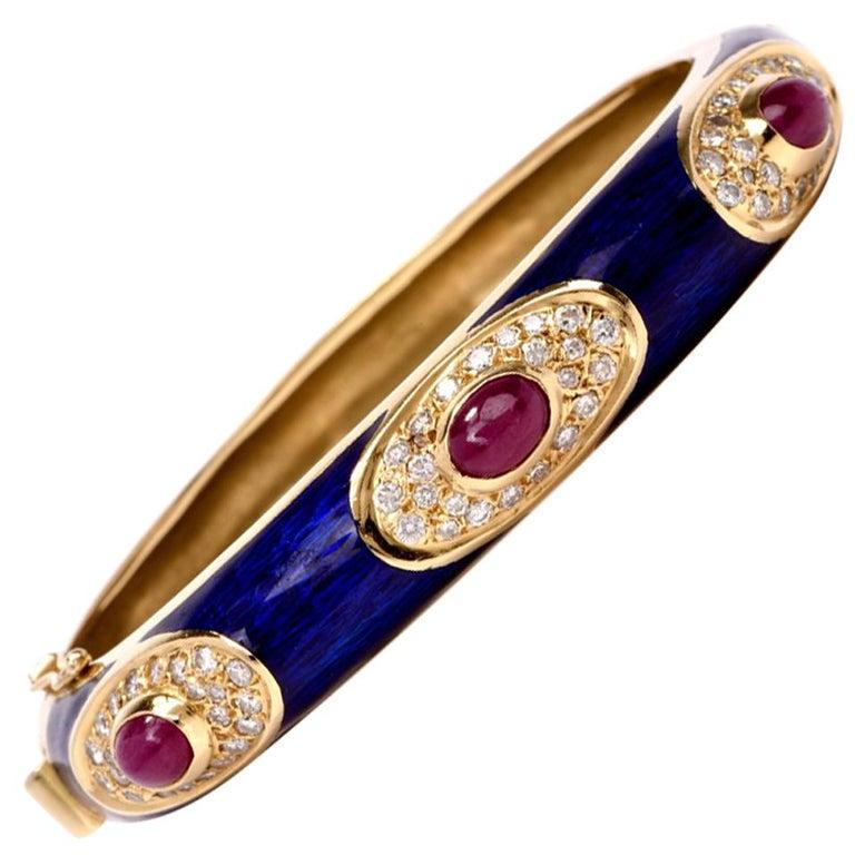 Blue Enamel Ruby Diamond 18 Karat Gold Bangle Bracelet