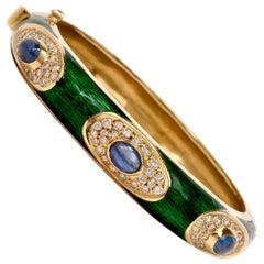 1960s Green Enamel Sapphire Diamond 18 Karat Gold Bangle Bracelet