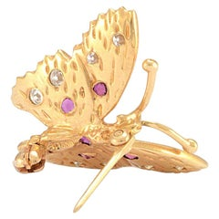 Solid 14 Karat Yellow Gold Natural Ruby and Diamond Butterfly Pin 3.3g