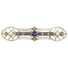 Sapphire and Pearl Bar Pin / 14 Karat Yellow Gold