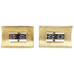 Men's Vintage Cuff Links with Sapphires - 14 Karat Yellow and White Gold