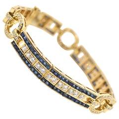Diamond and Sapphire Bracelet 18 Karat Yellow Gold