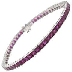 Sophia D. Natural 5.13 Carat Ruby Gemstone In-Line Platinum Tennis Bracelet