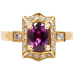 Carl Priolo 1.10 Carat Oval Pink Sapphire and Diamond Statement Ring in 18K Gold