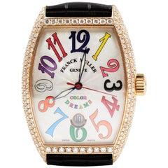 Franck Muller Rose Gold Black 18 Karat Diamond Color Dreams 7851 Watch