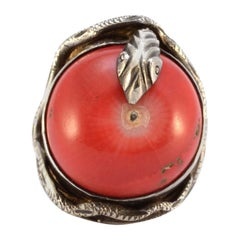 Sterling Silver Snake and Coral Apple Ring 18.3g