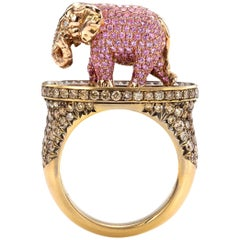 Wendy Brandes Gold Art Elephant Cocktail Pink Sapphire, Ruby and Diamond Ring