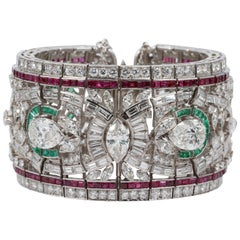 Retro Pear Shape Diamonds, Emerald and Ruby Platinum Bracelet