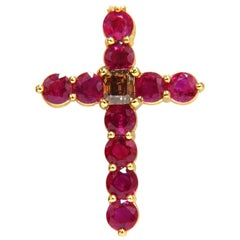 7.00ct.Natural Fancy color brown diamond vivid red ruby cross necklace 14k