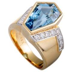 Tasaki  Diamond and Aquamarine Yellow Gold and Platinum Ring