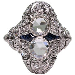 Antique Edwardian Platinum 2.35 Carat Diamond and Sapphire Ring