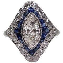 Modern Art Deco Style Platinum 1.87 Carat Diamond and Sapphire Ring
