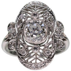 Antique Edwardian Platinum 1.57 Carat Diamond Ring