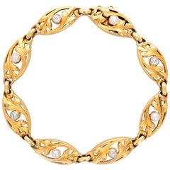 French Art Nouveau Pearl and Diamond Bracelet
