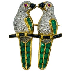 Loving Parrots Diamond Brooch