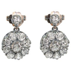 Antique Victorian 18 Karat Gold 3.1 Carat Diamond Earrings