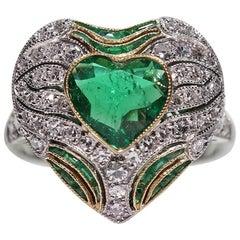 Modern Art Deco Style Platinum 1.75 Carat Emerald and Diamond Ring