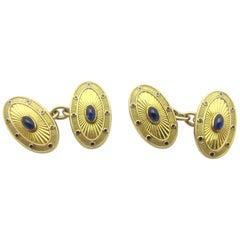 Vintage Deakin & Francis 18 Karat Blue Sapphire and Enamel Cufflinks