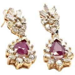 14 Karat Yellow Gold 2.34 Carat Diamond and 2.50 Carat Ruby Drop Earrings