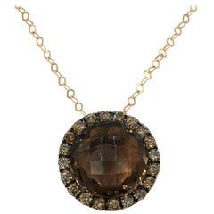 18 Karat Rose Gold Brown Diamond Smoky Quartz Round Pendant