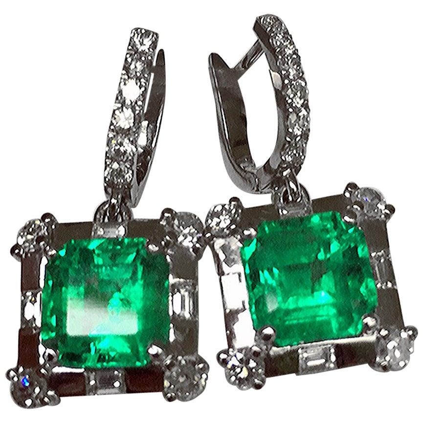 Certified 10.77 Carat Square Colombian Emerald Diamond Earrings 18 Karat