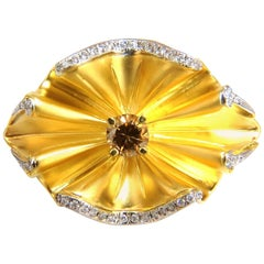 1.10 Carat Natural Fancy Orange Brown Round Diamond Ring 18 Karat Crease 3D Deco
