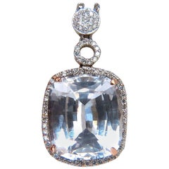 24.74 Carat Lab Pink Sapphire Diamonds Necklace 14 Karat