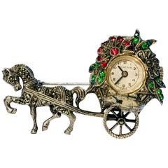 Swiss Bucherer Hidden Manual Lapel Pin Watch Silver Ruby Emerald Marcasite