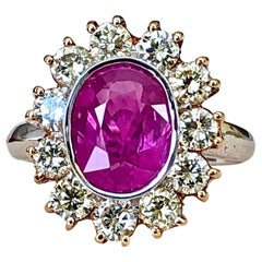 4.64 Carat Burma Pink Sapphire and Diamond Engagement Ring 18 Karat