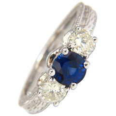 2.14 Carat Natural Blue Sapphire Diamonds Ring 14 Karat Classic Edwardian Deco