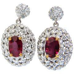 3.46 Carat Natural Red Ruby Diamonds Dangle Cluster Earrings 14 Karat G/Vs