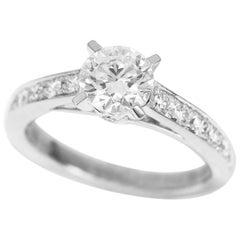 Boucheron 0.72 Carat Diamond Platinum Beloved Solitaire Ring