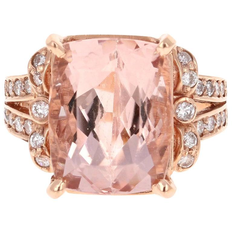 9.98 Carat Morganite Diamond Rose Gold Cocktail Ring