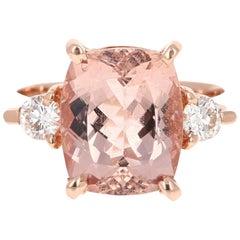 6.03 Carat Morganite Diamond Rose Gold Cocktail Ring