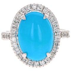 5.26 Carat Turquoise Diamond White Gold Cocktail Ring