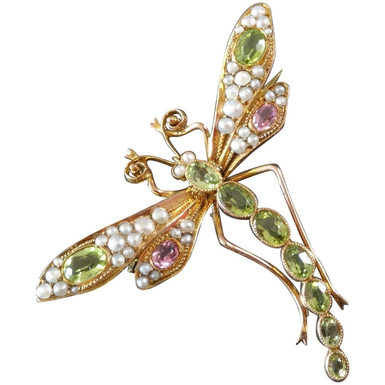 1900s Art Nouveau Peridot Tourmaline Pearl Gold Dragonfly Brooch Suffragettes