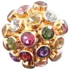 1960s Modernist Amethyst Citrine Tourmaline Garnet Aquamarine Gold Sputnik Ring