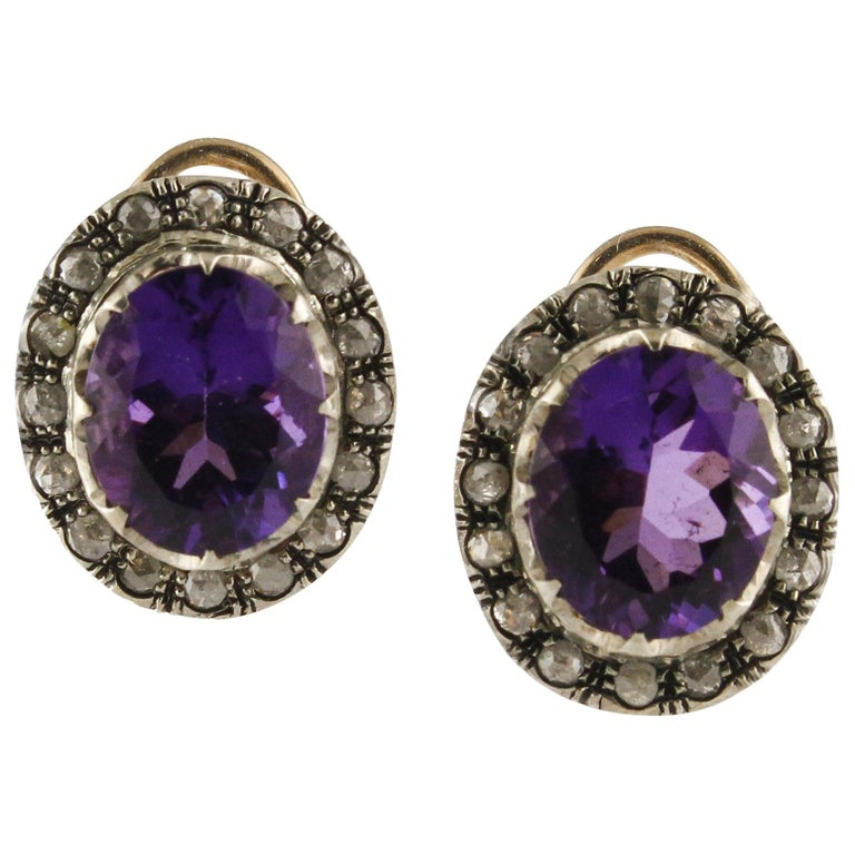 Diamonds Amethyst Rose Gold and Silver Clip-On Earrings