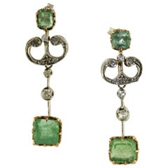 Diamonds Emeralds Rose Gold and Silver Earrings