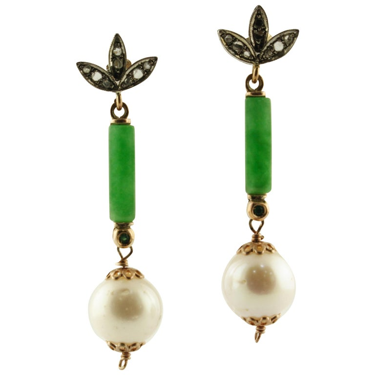 Diamonds Emeralds Green Jade White Pearls Rose Gold and Silver Stud Earrings