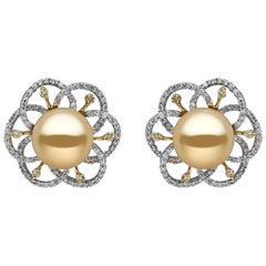 Yoko London Golden South Sea Pearl, White and Yellow Diamond 18K Gold Earrings
