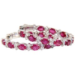 4.58 Carat Natural Red Ruby Diamond Hoop Earrings 14 Karat Gold
