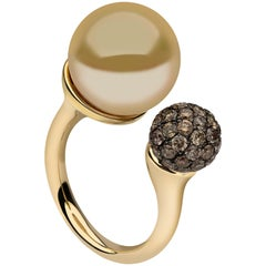 Yoko London Golden South Sea Pearl and Cognac Diamond 18 Karat Gold Ring