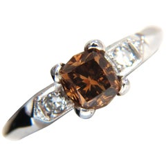 1.12 Carat Natural Fancy Bright Orange Brown Diamond Ring Platinum VS